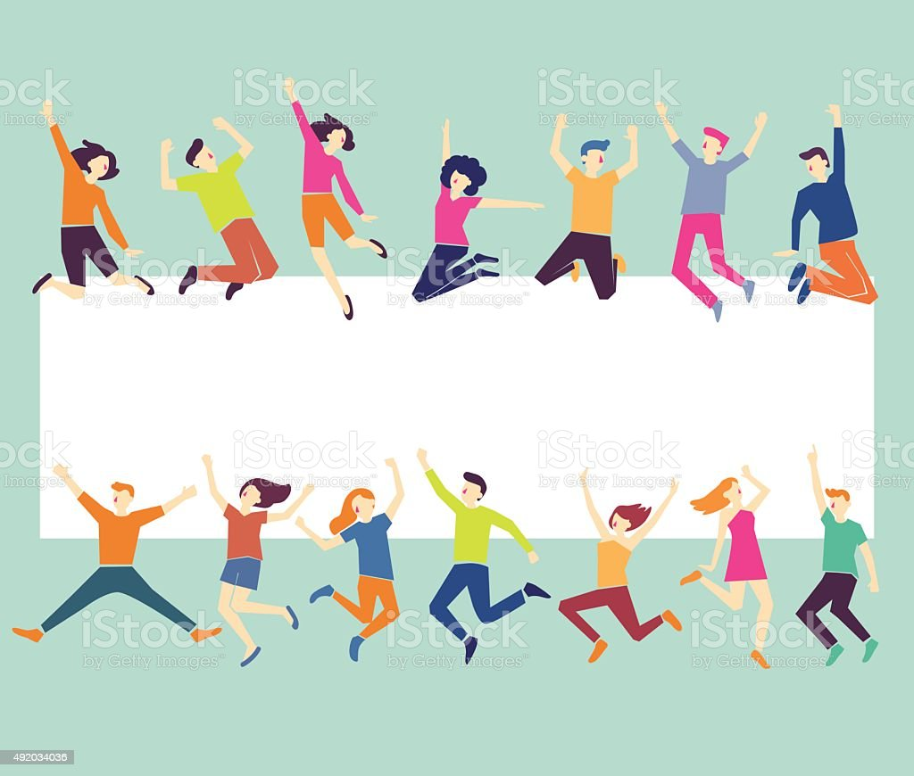 Group of young people jumping. Green background with copy space vector art illustration