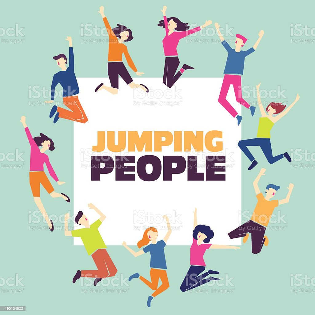 Group of young people jumping. Party, sport and team concept vector art illustration