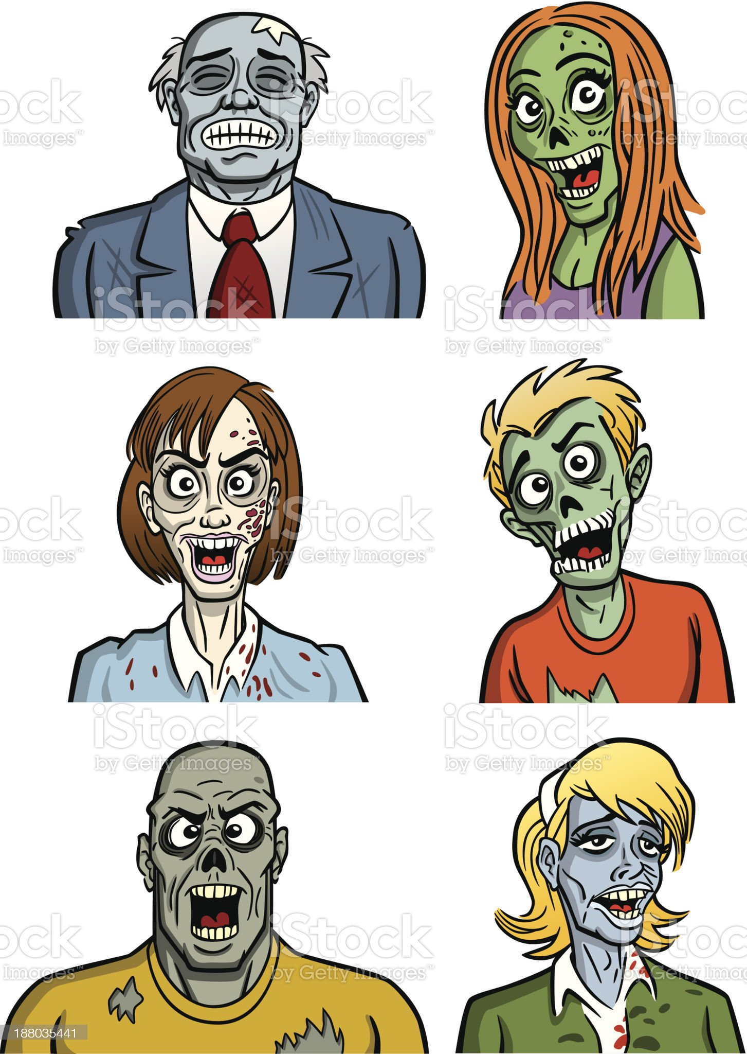 Group of Zombies royalty-free stock vector art