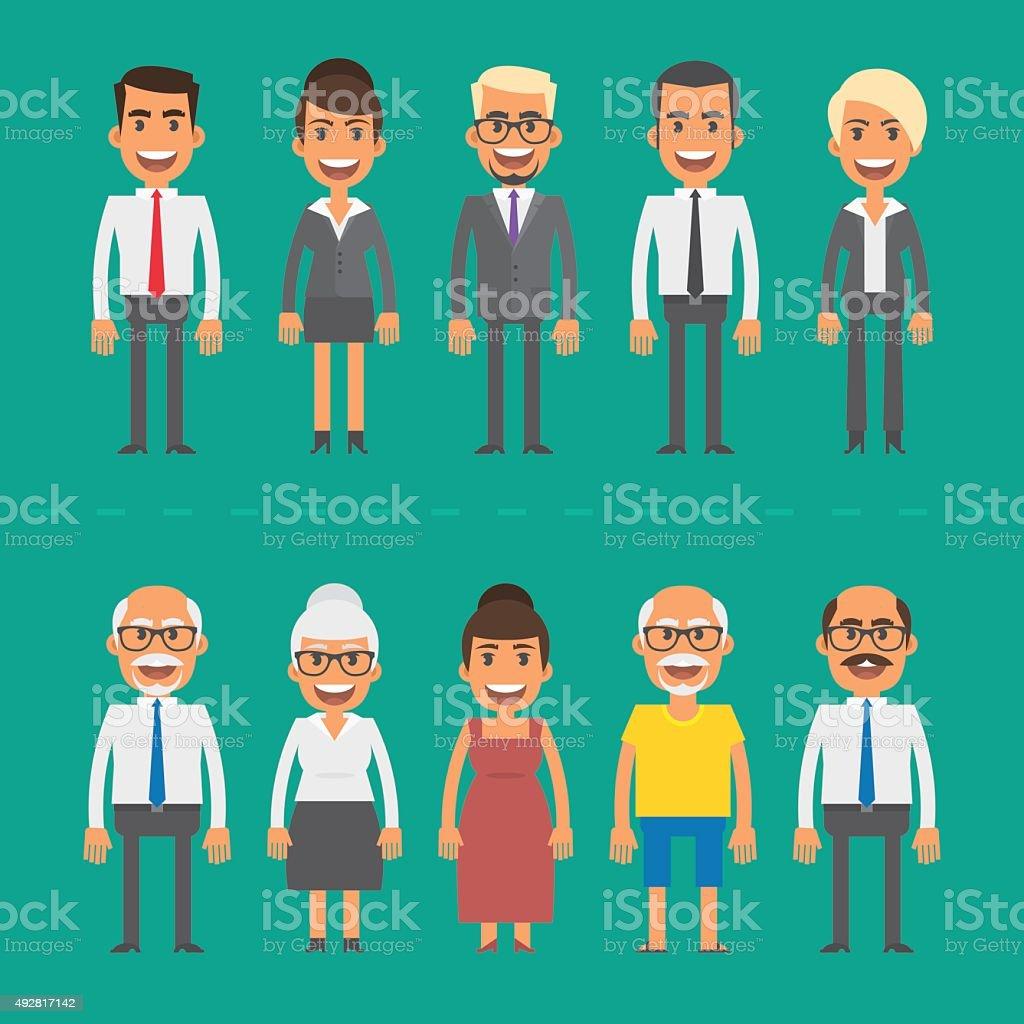 Group people businessmen and businesswomen vector art illustration