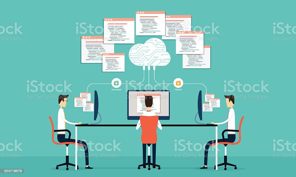 Group programing develop web and application on cloud net work vector art illustration