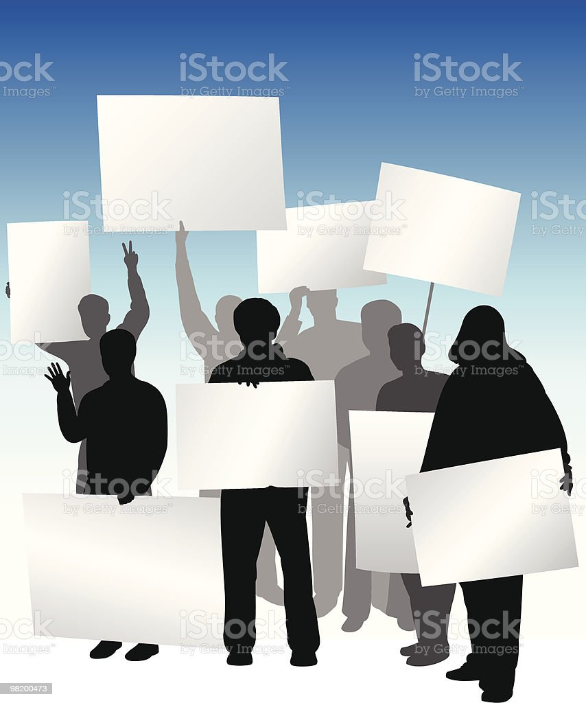 Group Protest, Rally, or Picket - Holding Signs royalty-free stock vector art