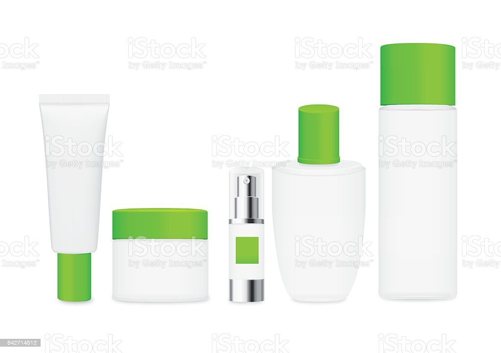 Group shot cosmetic container green color with white cap. vector art illustration