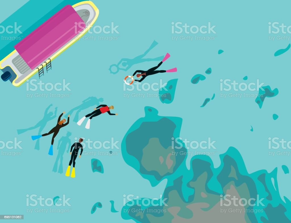 Group snorkeling swimming at clear bay vector art illustration