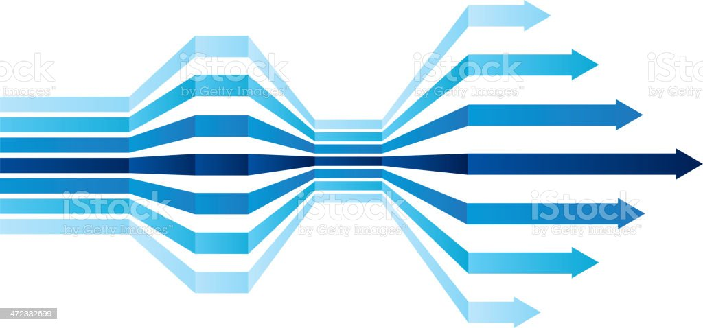 Groups of blue arrows vector art illustration