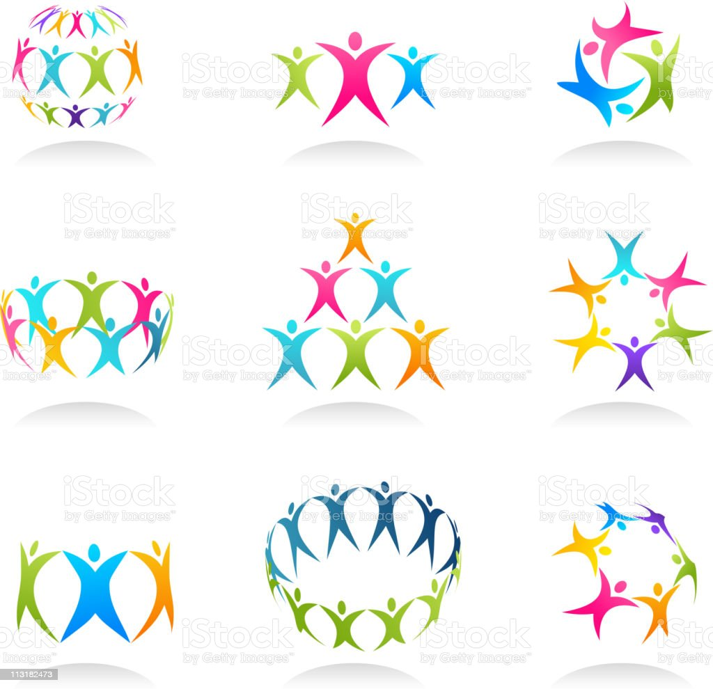 Groups of people together in an icon vector image vector art illustration