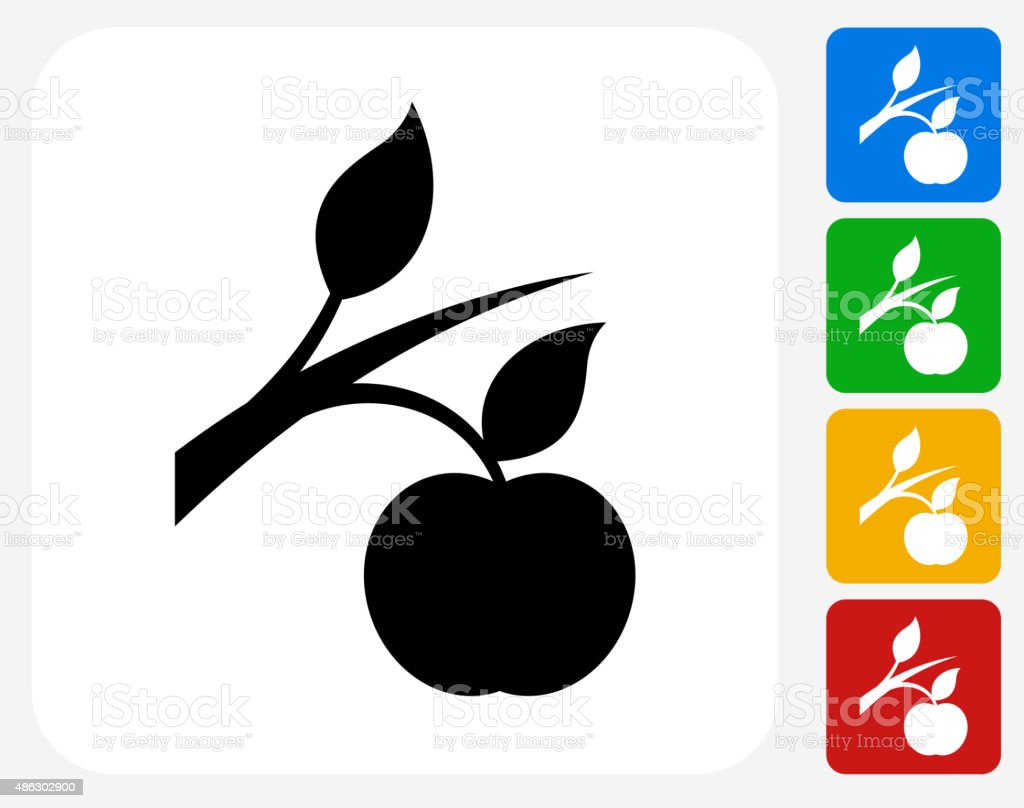Growing Apple Icon Flat Graphic Design vector art illustration