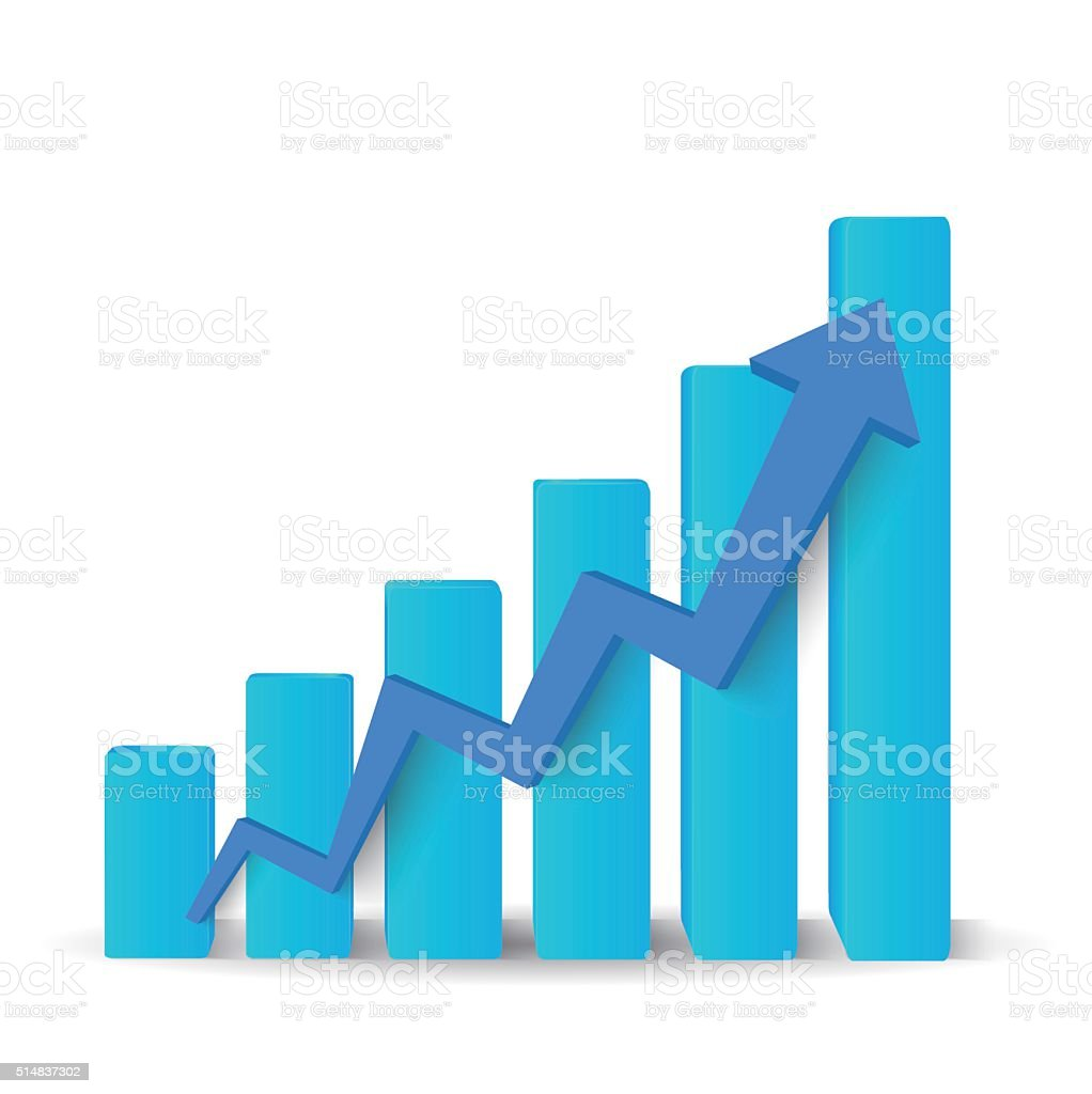 Growing blue graph vector art illustration
