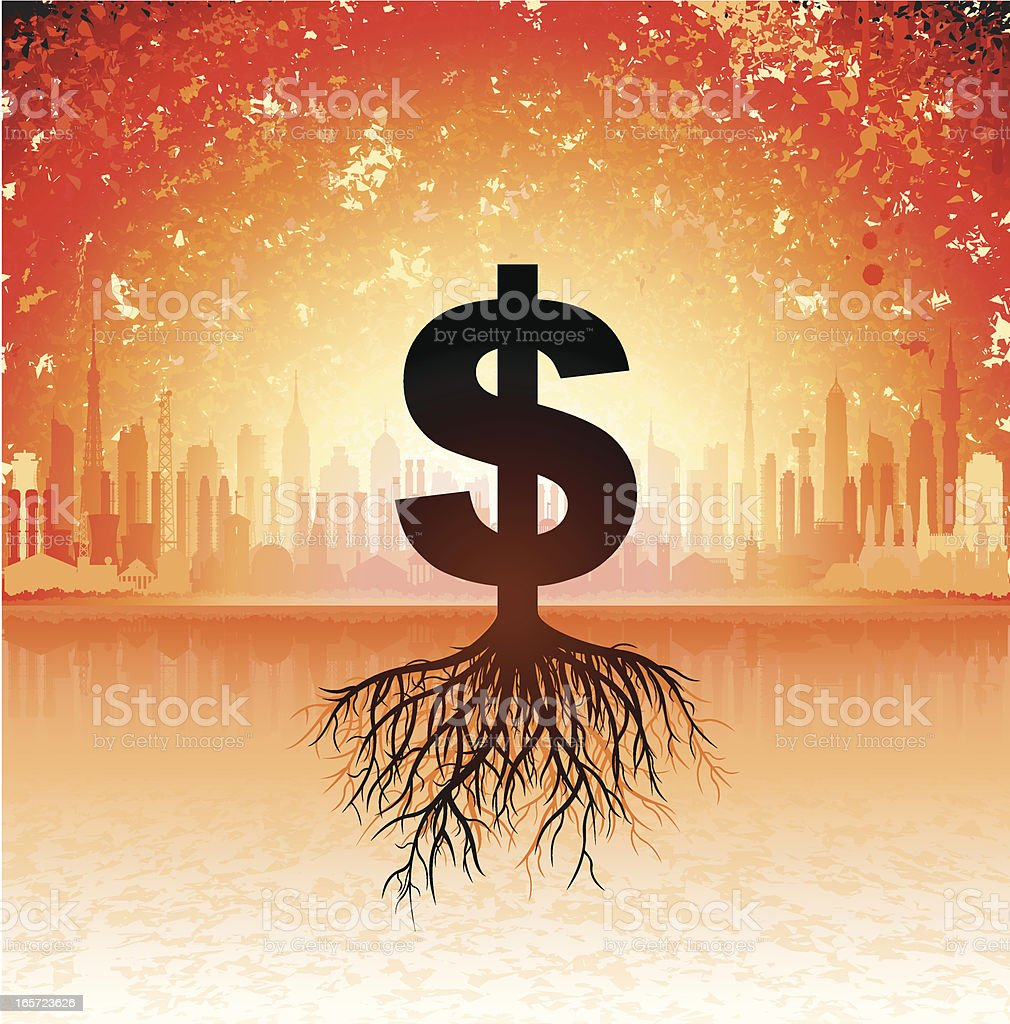 Growing Dollars royalty-free stock vector art