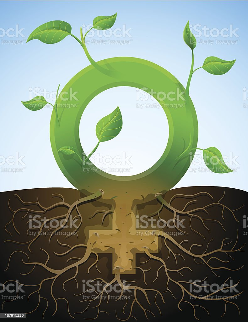 Growing female symbol like plant with leaves and roots vector art illustration