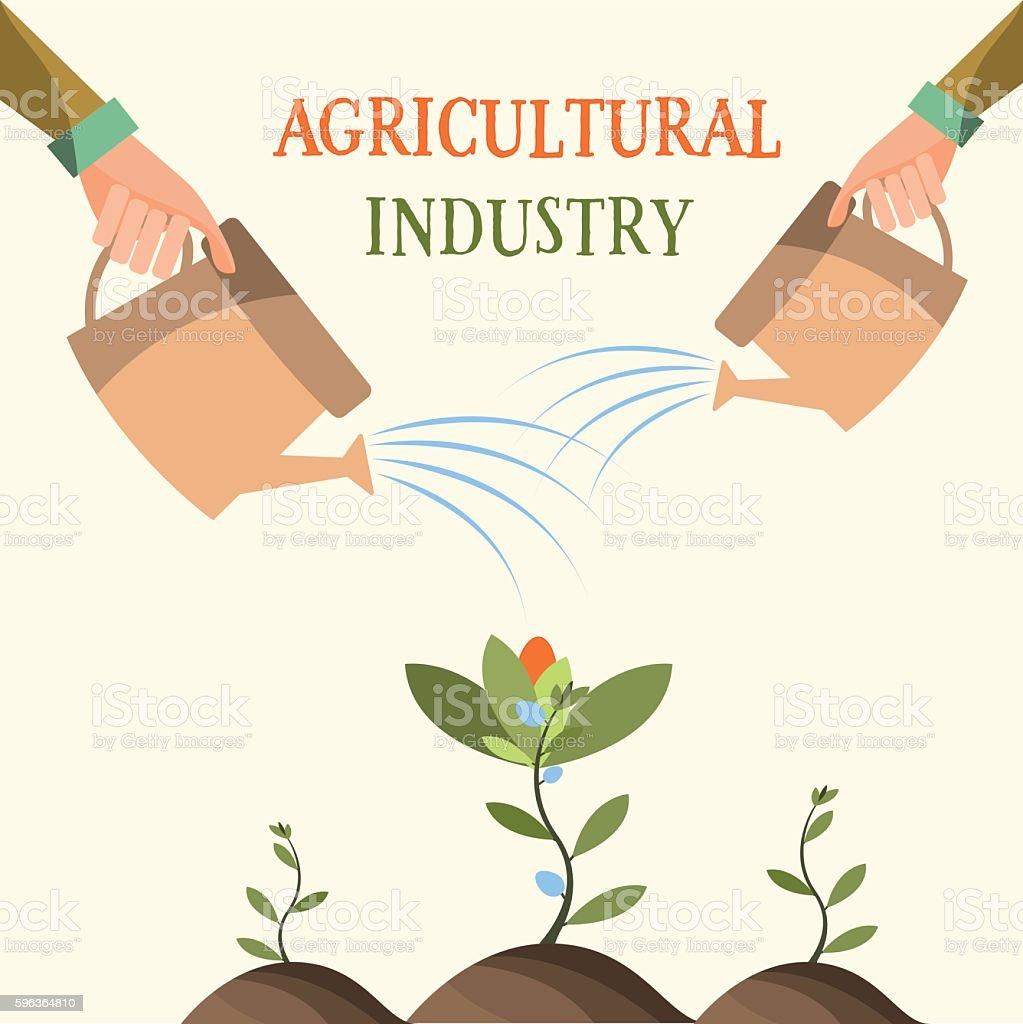 Growing flowers , Agriculture, farming , garden. Vector illustration vector art illustration