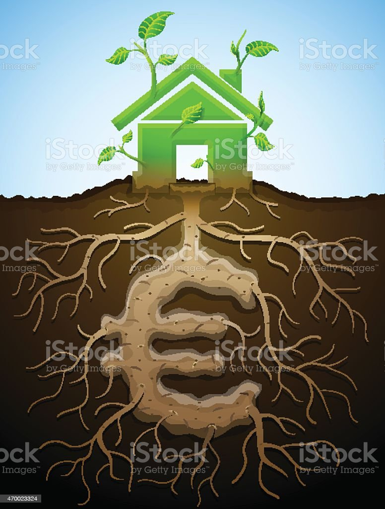 Growing house sign as plant with leaves and euro as root vector art illustration