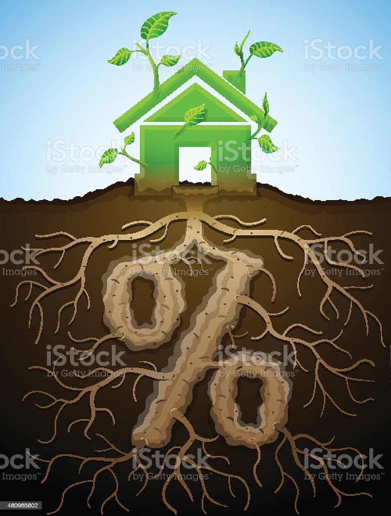 Growing house sign as plant with leaves and percent sign as root vector art illustration