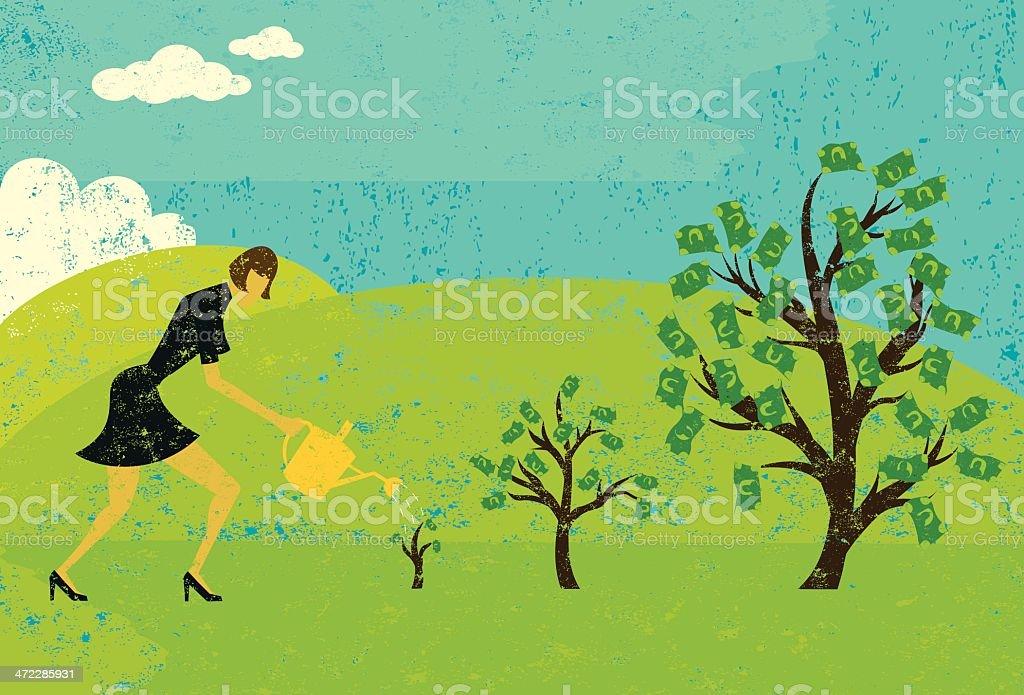 growing money trees royalty-free stock vector art