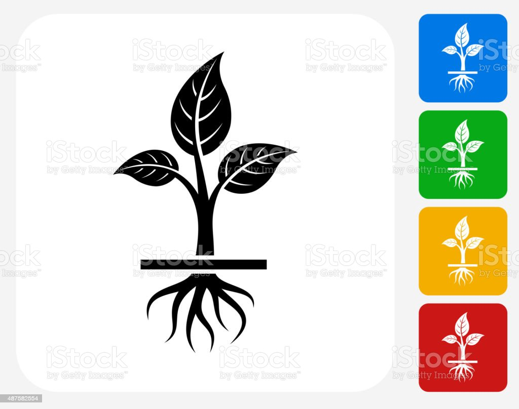Growing Plant Icon Flat Graphic Design vector art illustration