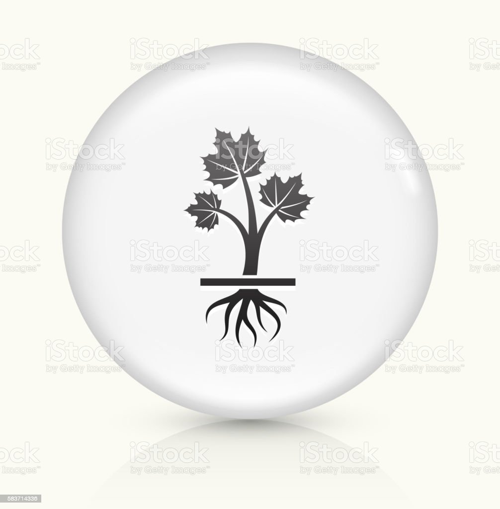Growing Plant icon on white round vector button vector art illustration