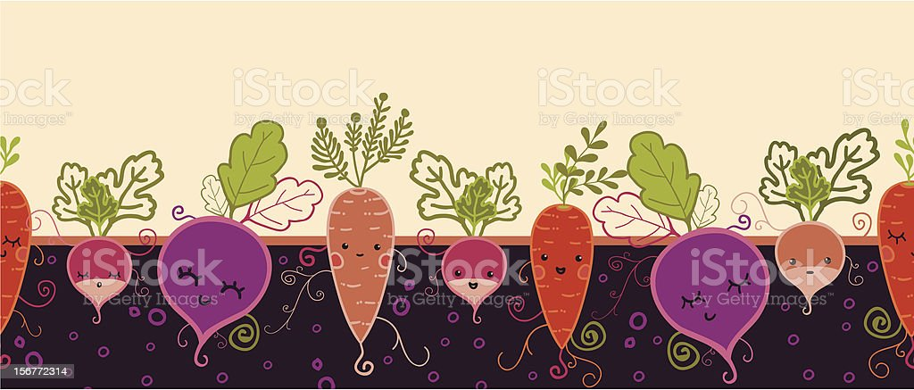 Growing Root Vegetables Characters Horizontal Seamless Pattern royalty-free stock vector art