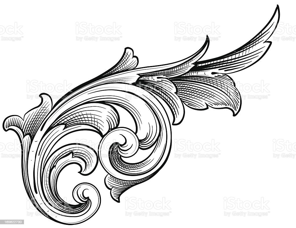 Growing Scroll vector art illustration