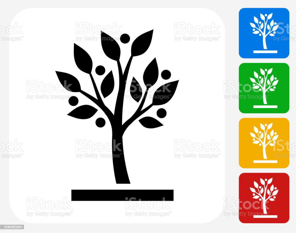 Growing tree Icon Flat Graphic Design vector art illustration