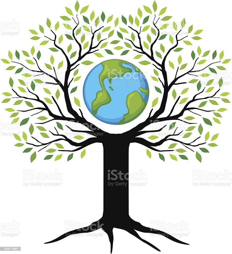 growing tree with earth royalty-free stock vector art