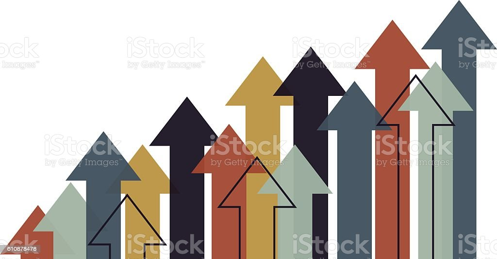 Growth Arrows vector art illustration