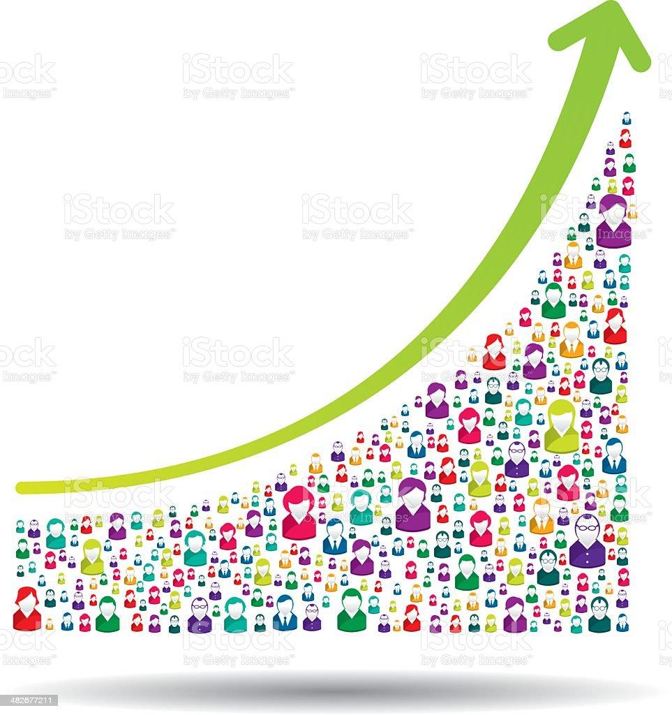 Growth chart vector art illustration