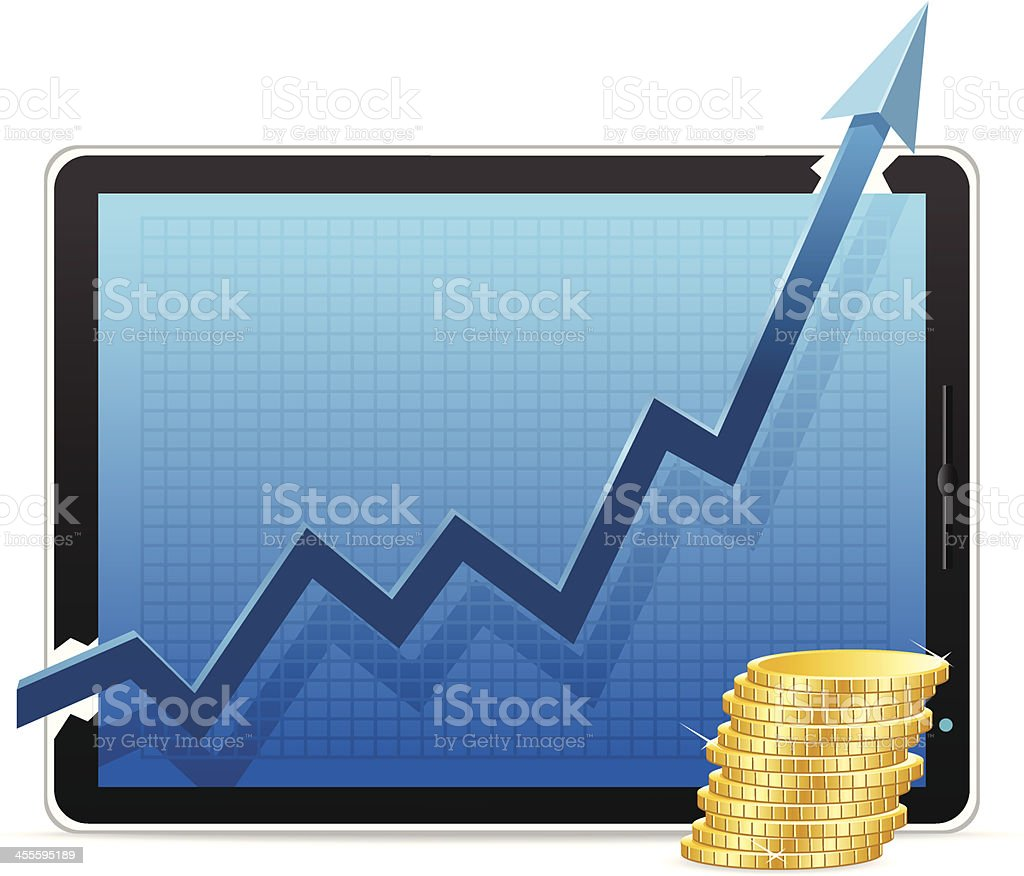 Growth Chart with Coin royalty-free stock vector art