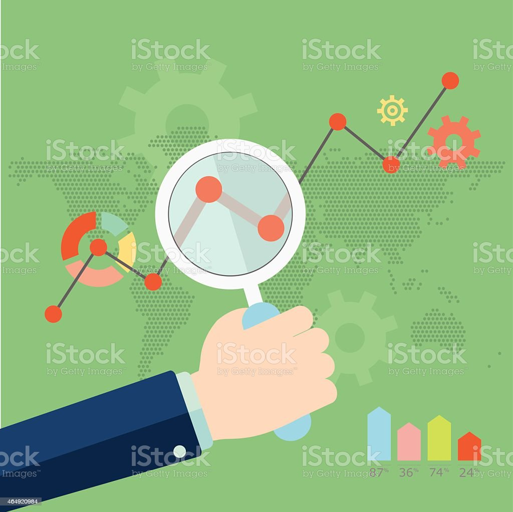 Growth chart with magnifying glass focusing on point. vector art illustration