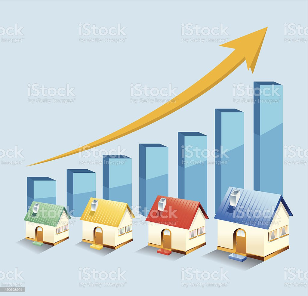 growth in real estate shown on chart royalty-free stock vector art