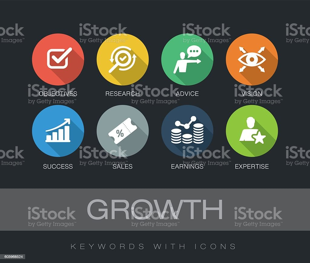 Growth keywords with icons vector art illustration
