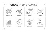 Growth keywords with monochrome line icons