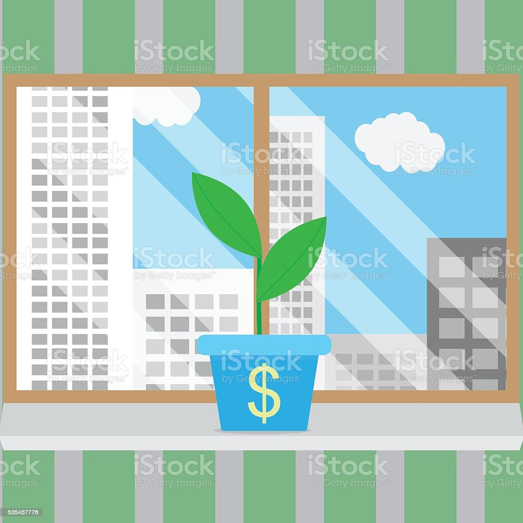 Growth of business start-up in good conditions vector art illustration