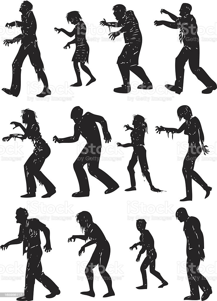 gruesome zombie silhouettes vector art illustration