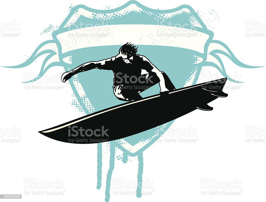 gruge surf shield with surfer and banner to copy royalty-free stock vector art