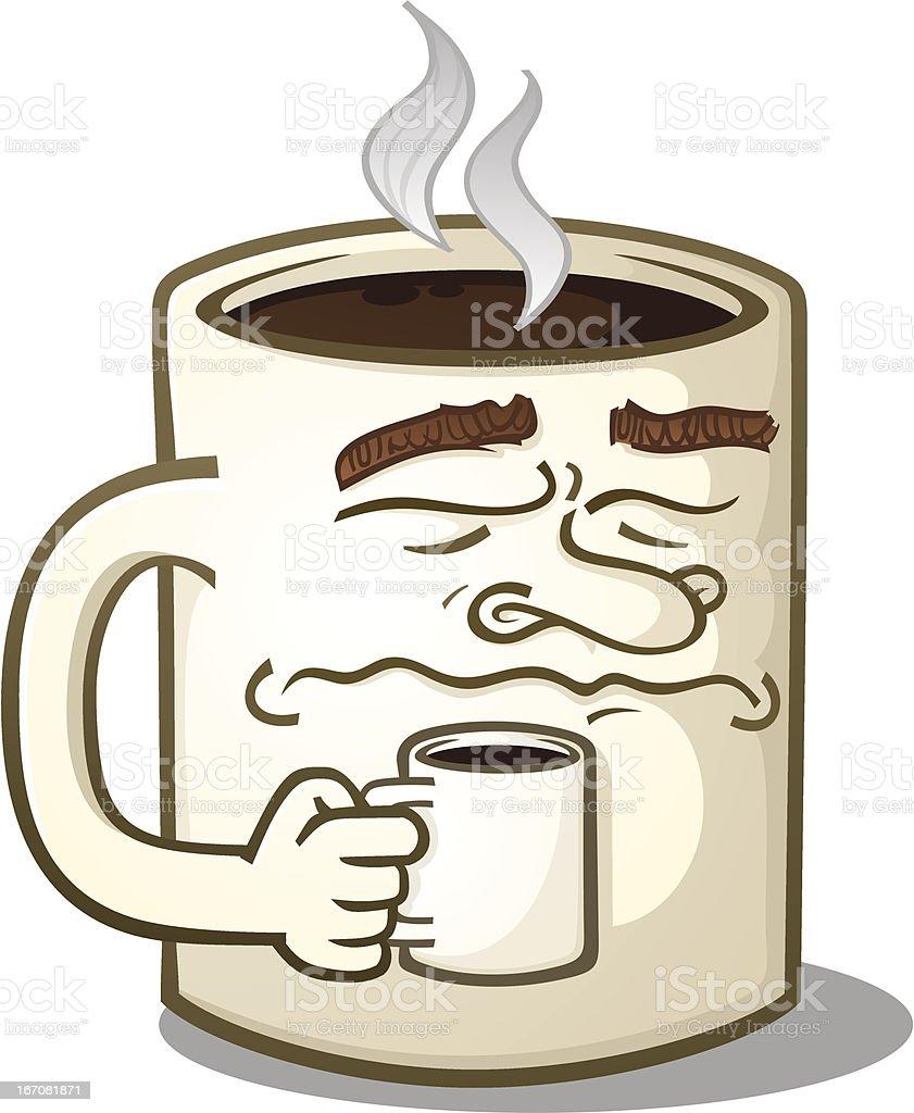 Grumpy Coffee Mug Character Drinking A Hot Beverage royalty-free stock vector art