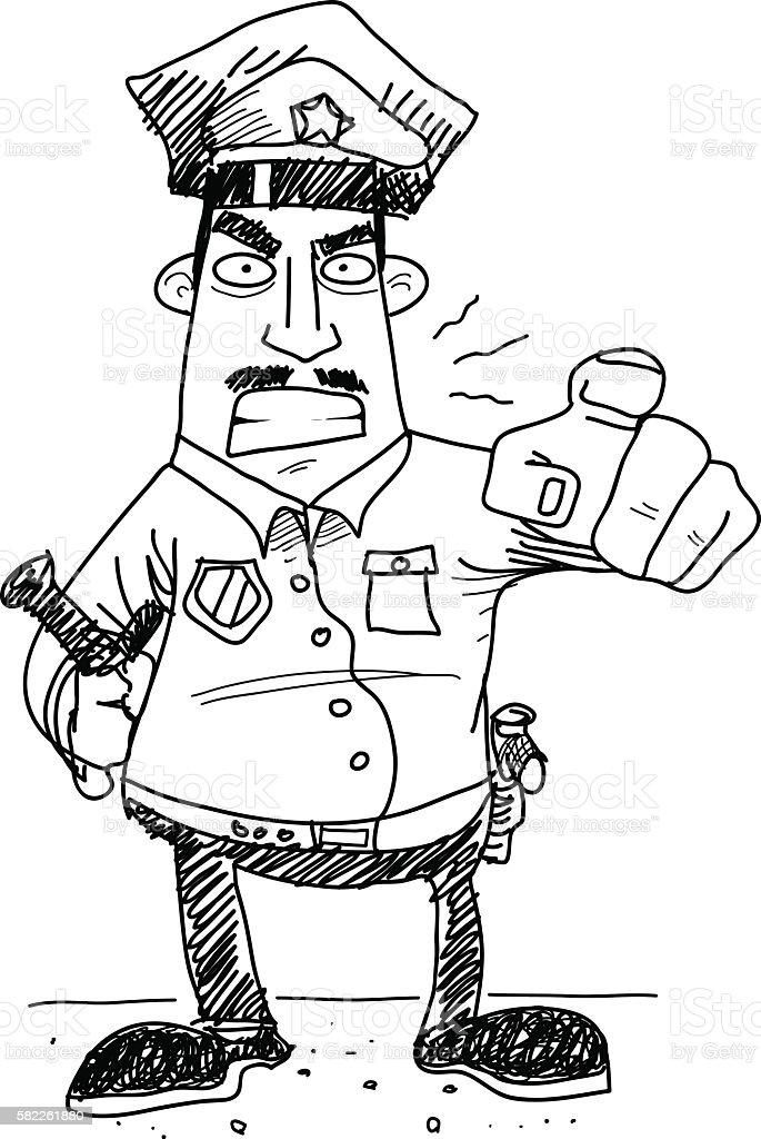 Grumpy Cop Police vector art illustration