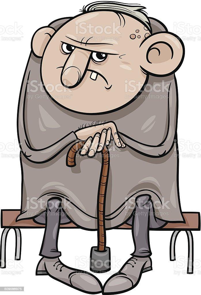 grumpy old man cartoon illustration vector art illustration