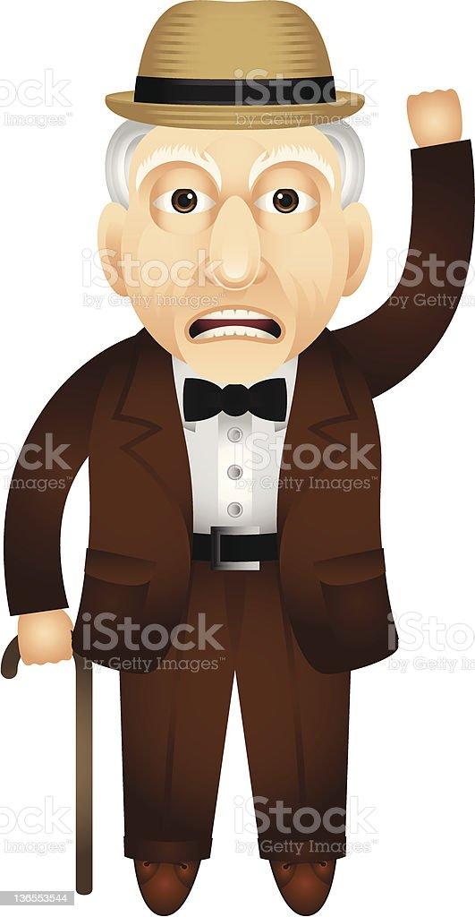Grumpy Old Man Illustration vector art illustration