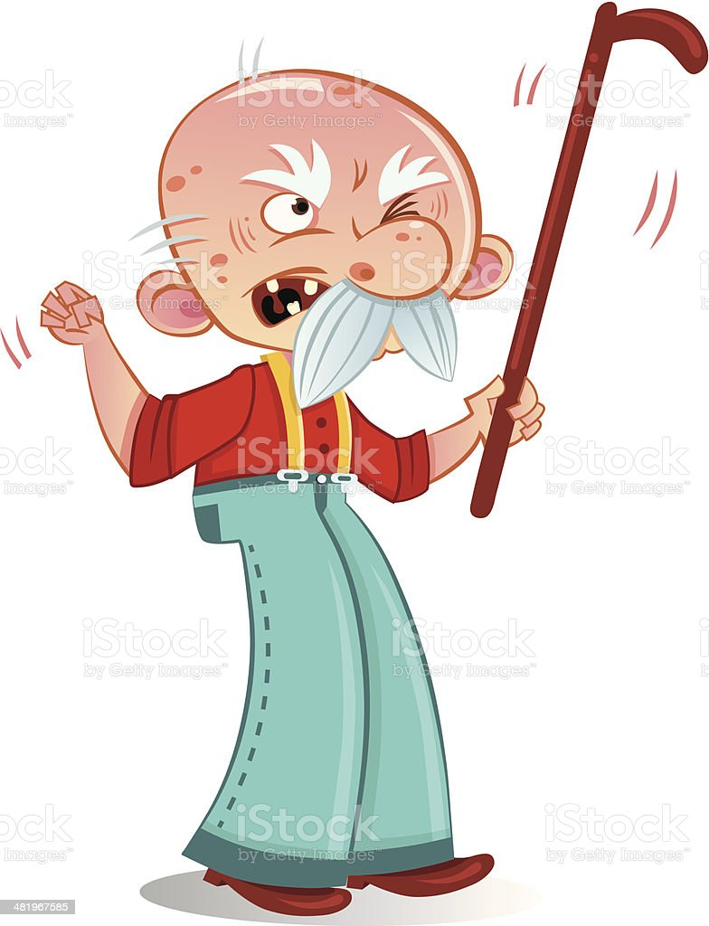 Grumpy Old Man vector art illustration