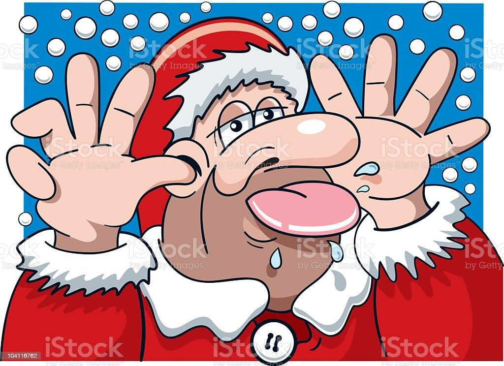 Grumpy Santa Claus making a funny face royalty-free stock vector art