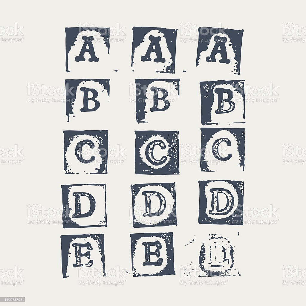 Grunge alphabet A - E. 3 versions of each letter royalty-free stock vector art