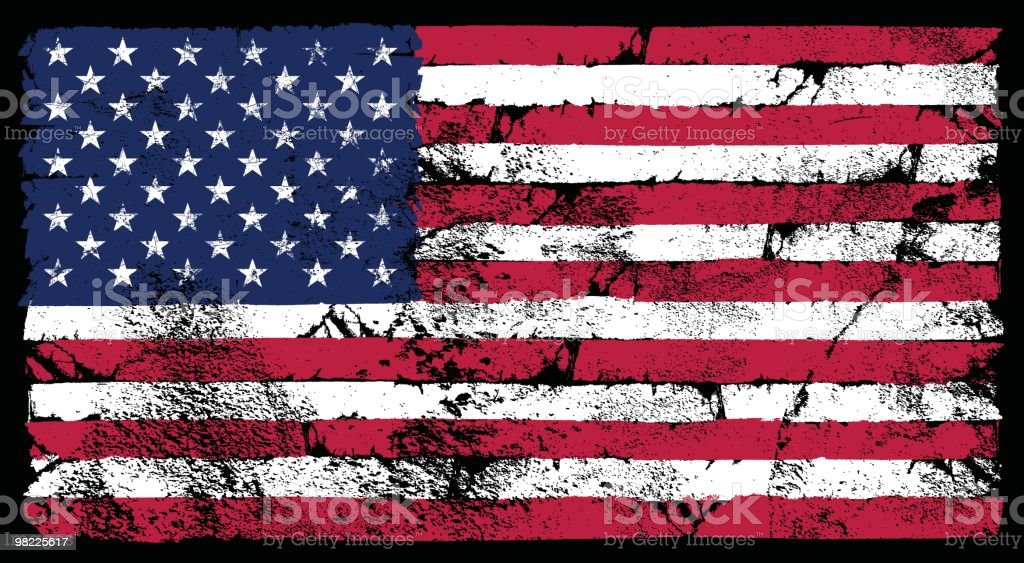 Grunge American Flag vector art illustration