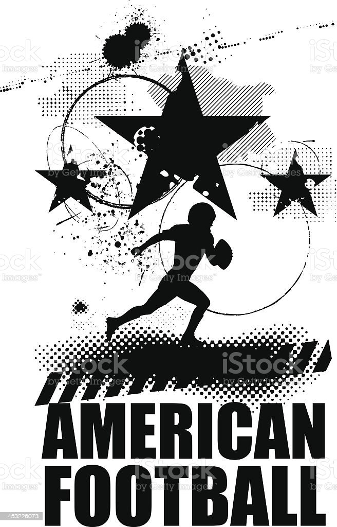 grunge american football scene royalty-free stock vector art