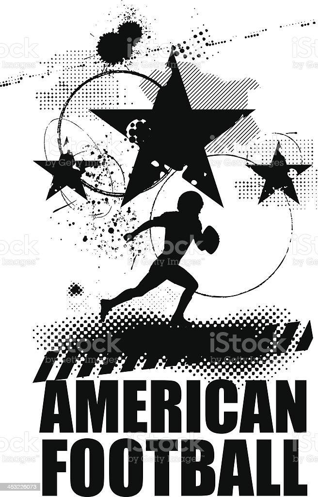 grunge american football scene vector art illustration