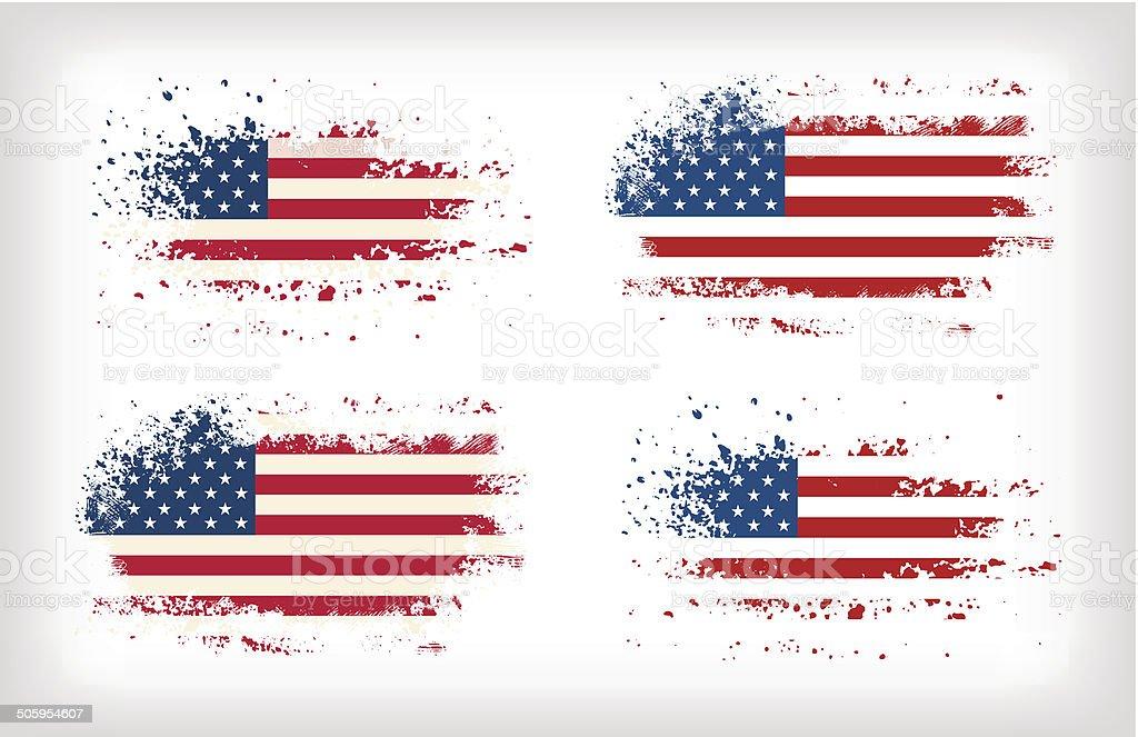 Grunge american ink splattered flag vectors vector art illustration