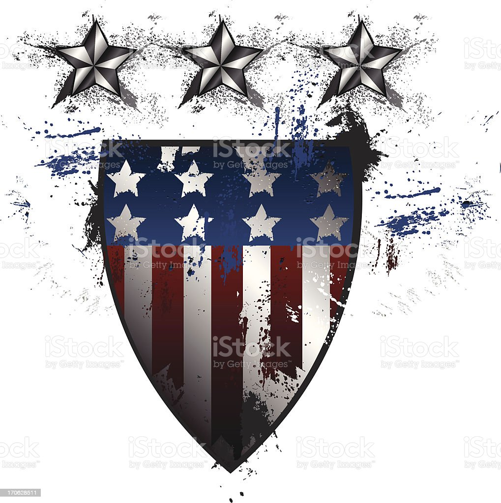 Grunge American Shield royalty-free stock vector art