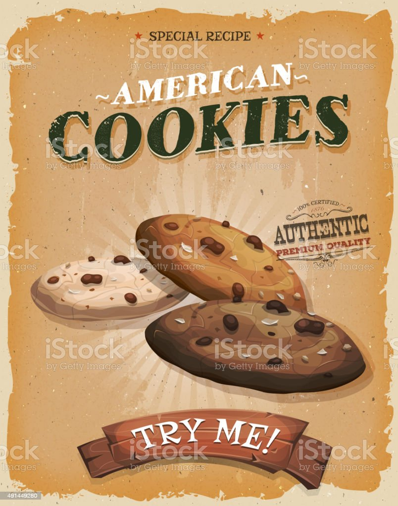 Grunge And Vintage American Cookies Poster vector art illustration