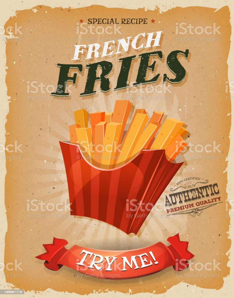 Grunge And Vintage French Fries Poster vector art illustration