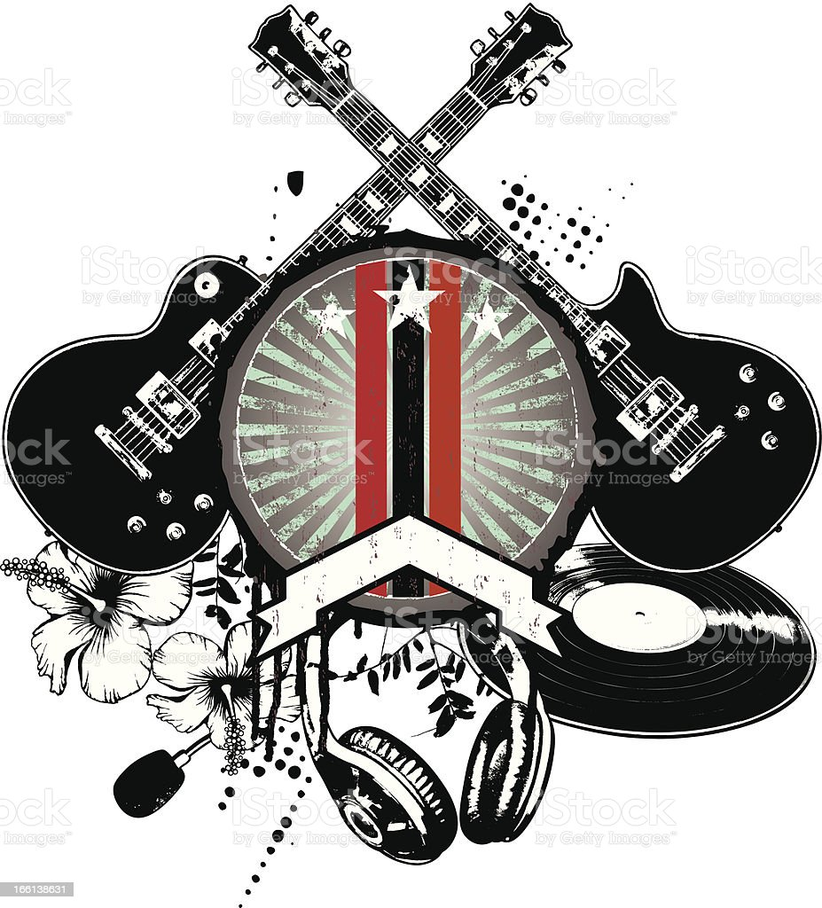 grunge and vintage music shield royalty-free stock vector art