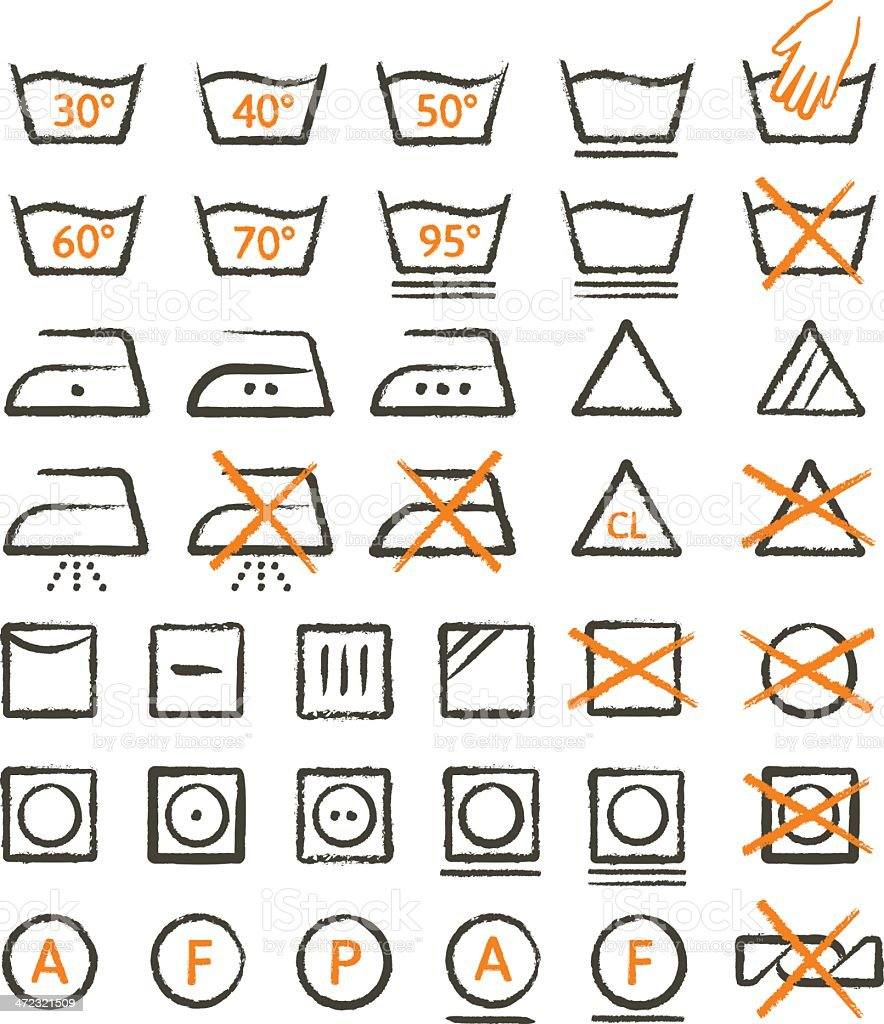 Grunge Apparel Care Symbols royalty-free stock vector art